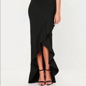 Slinky Maxi Skirt With Split And Front Ruffle